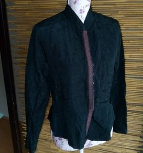 Black Jacket Naru Collar Red Plaid Trim Sz M